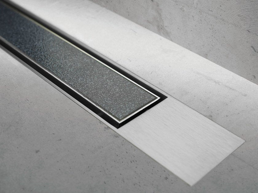 Metal shower channel MODULO DESIGN Z-2 TILE + BRUSHED by ESS Easy Drain