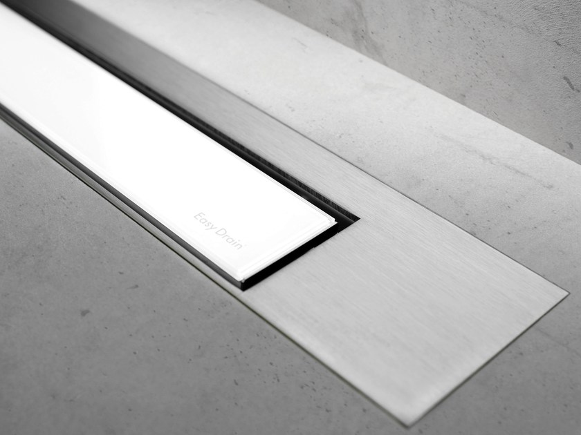 Glass shower channel MODULO DESIGN Z-3 WHITE GLASS + BRUSHED by ESS Easy Drain