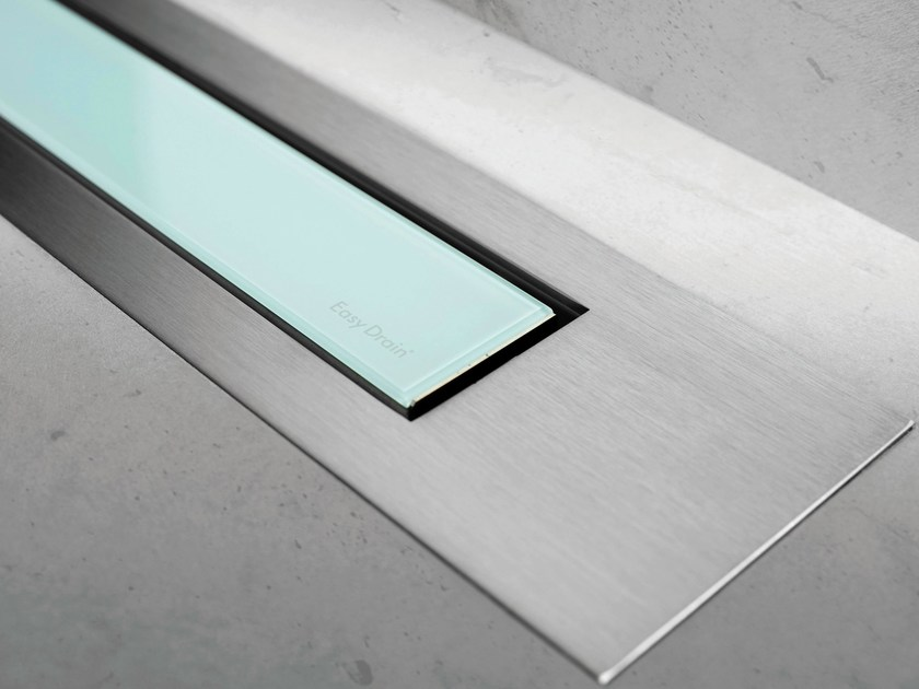 Glass shower channel MODULO DESIGN Z-4 GREEN GLASS+BRUSHED by ESS Easy Drain
