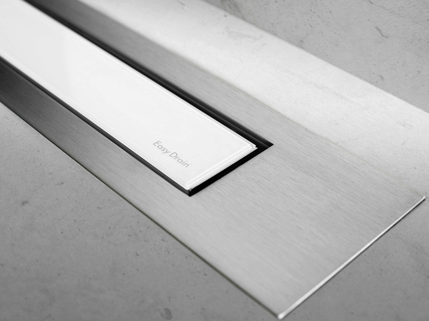 Glass shower channel MODULO DESIGN Z-4 WHITE GLASS+BRUSHED by ESS Easy Drain