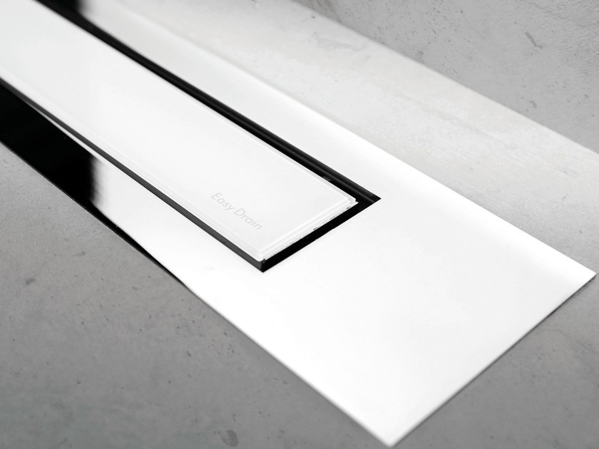 Shower channel MODULO DESIGN Z-4 WHITE GLASS+CHROME by ESS Easy Drain