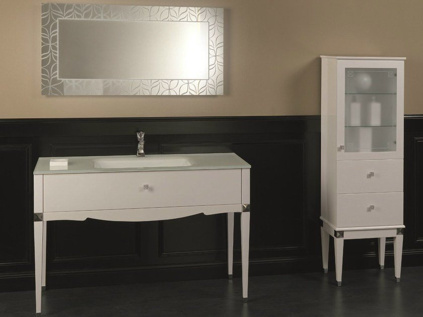 Contemporary style floor-standing lacquered vanity unit with drawers DEDALO 002 by Mobiltesino