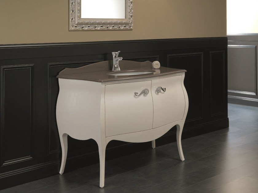 Lacquered console sink with doors MEMORY 16 by Mobiltesino
