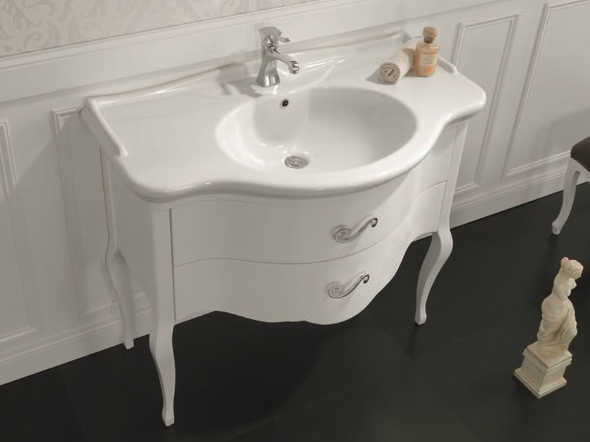 Lacquered console sink AIDA 02 by Mobiltesino