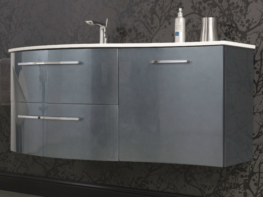 Vanity unit with doors with drawers F147 by Mobiltesino