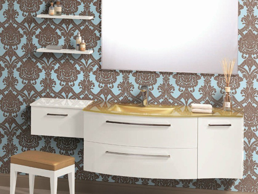 Vanity unit with doors with cabinets F153 by Mobiltesino