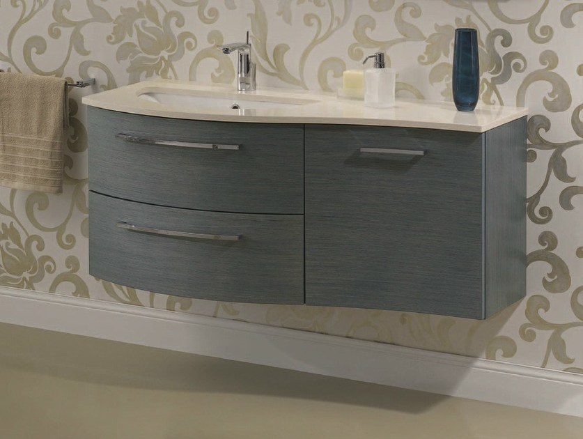 Vanity unit with doors with drawers F140 by Mobiltesino