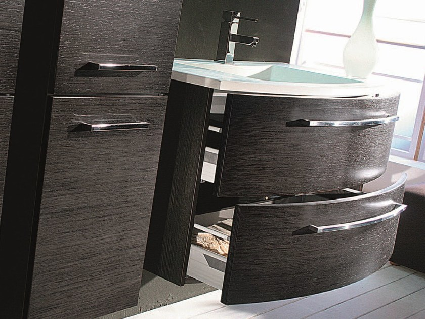 Vanity unit with cabinets with drawers F127 by Mobiltesino