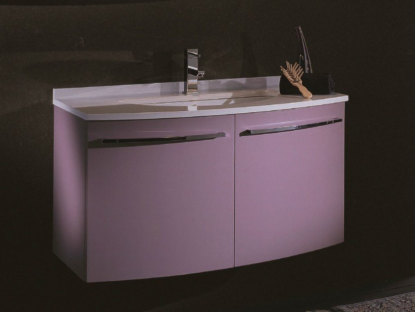 Single wall-mounted vanity unit F125 by Mobiltesino