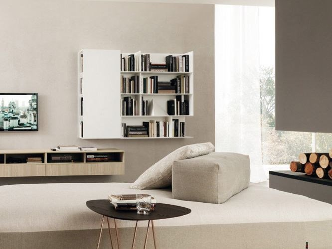 Lacquered wall cabinet with door with shelves PUZZLE 12 by Zalf