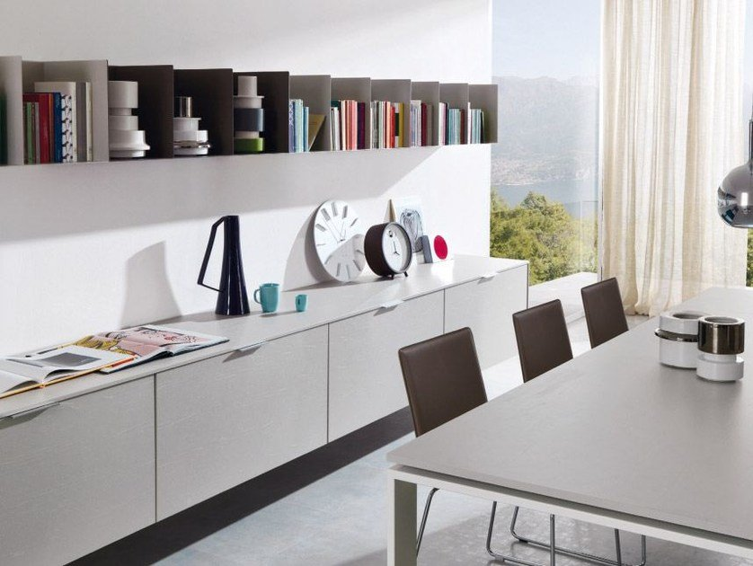 Lacquered suspended sideboard with drawers Z106 by Zalf