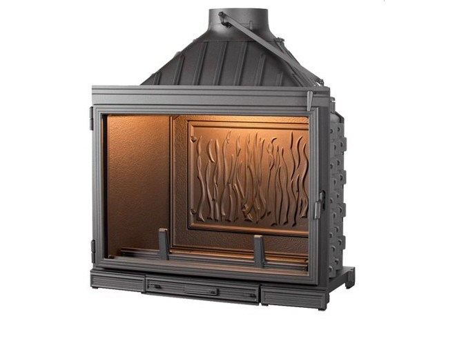 Cast Iron Fireplace Insert With Panoramic Glass Super 8 By Cheminees