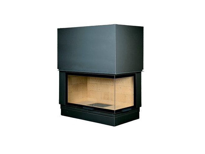 Corner steel Fireplace insert with Panoramic Glass VLD 900 by CHEMINEES SEGUIN
