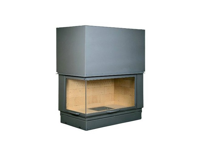 Corner steel Fireplace insert with Panoramic Glass VLG 900 by CHEMINEES SEGUIN