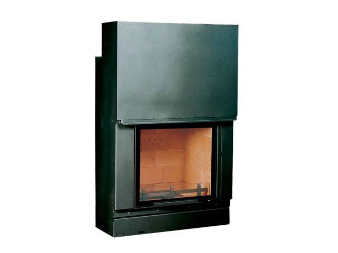 Wood-burning steel Fireplace insert with Panoramic Glass F 800 I by CHEMINEES SEGUIN