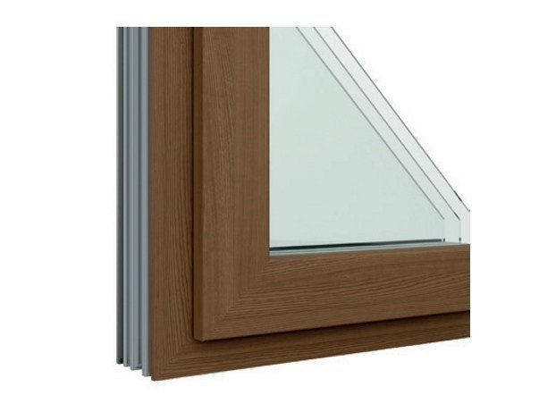 Aluminium and wood window with retractable Fibex sash Serie 502H by Agostinigroup