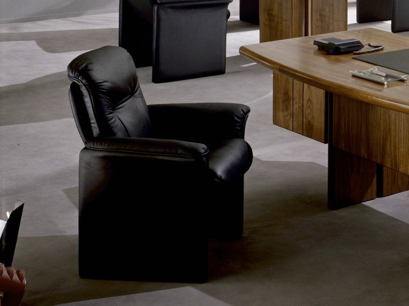 Upholstered leather armchair with armrests 9691 | Armchair by Dyrlund
