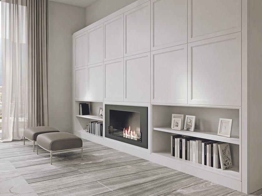Parete attrezzata in legno con porta tv aeterna argilla for Boiserie in legno ikea