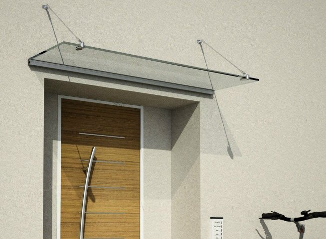 Glass door canopy PRESA by Metalglas Bonomi