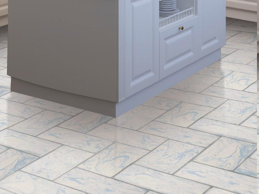 Quarry flooring White cotto variegated lightblue by Danilo Ramazzotti