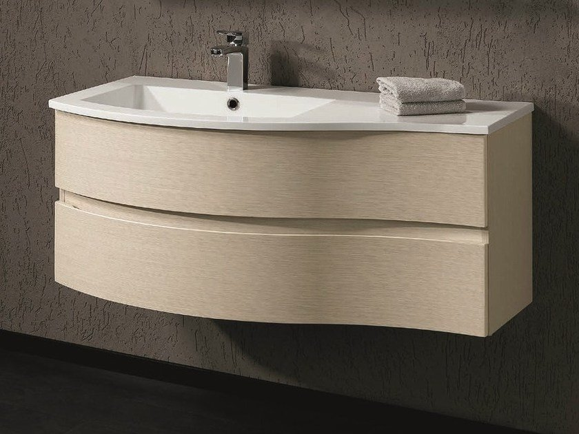 Wall-mounted vanity unit with drawers UNICO 14 by Mobiltesino