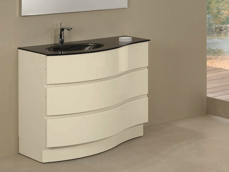 Single vanity unit with drawers UNICO 71 by Mobiltesino