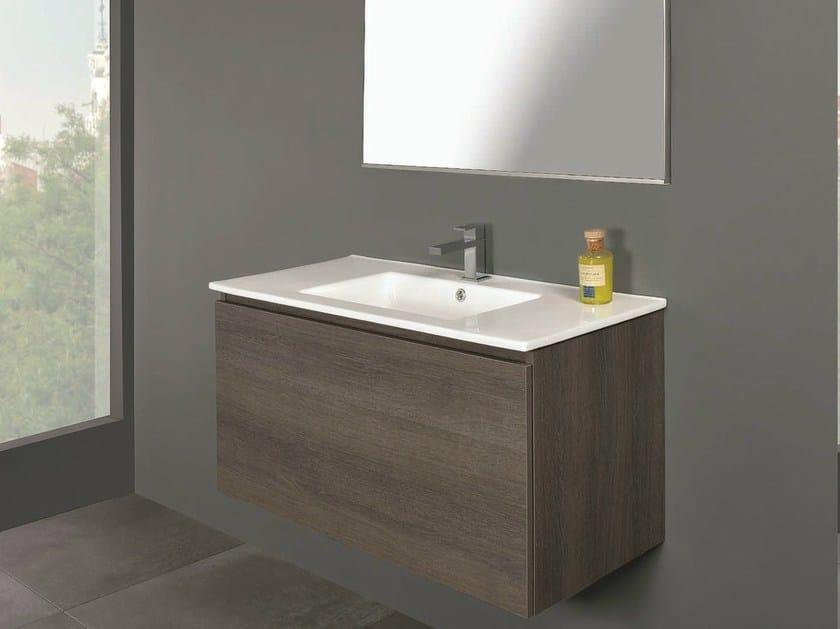 Single wall-mounted vanity unit LINK 01 by Mobiltesino