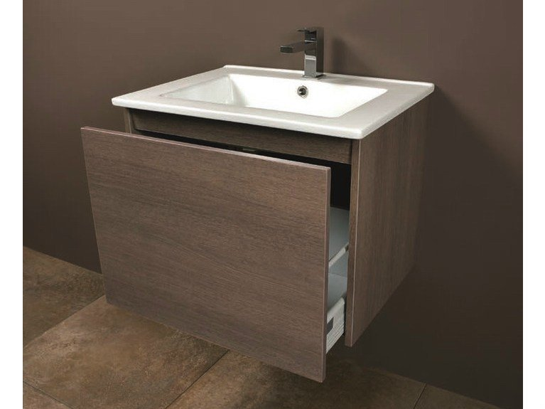 Wall-mounted vanity unit with drawers LINK 04 by Mobiltesino