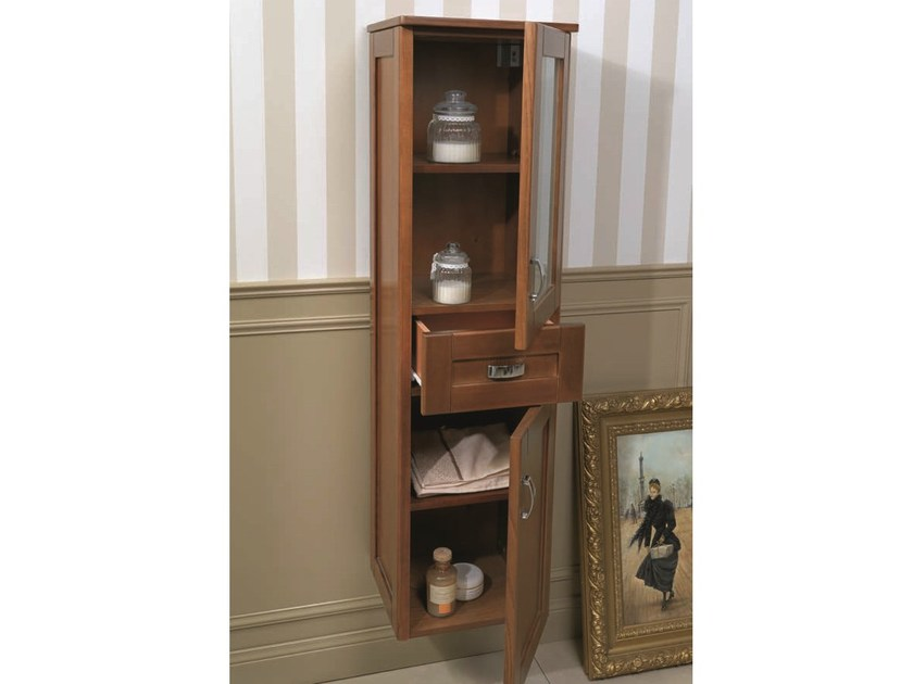 Tall bathroom cabinet with drawers NATURA 03   Tall bathroom cabinet by Mobiltesino