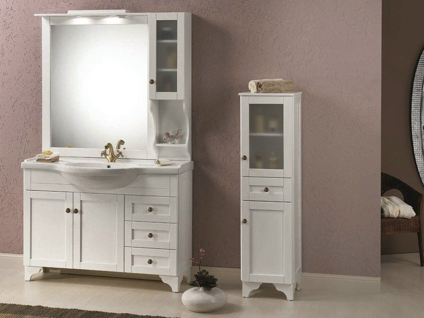 Vanity unit with doors with cabinets NATURA 40 by Mobiltesino