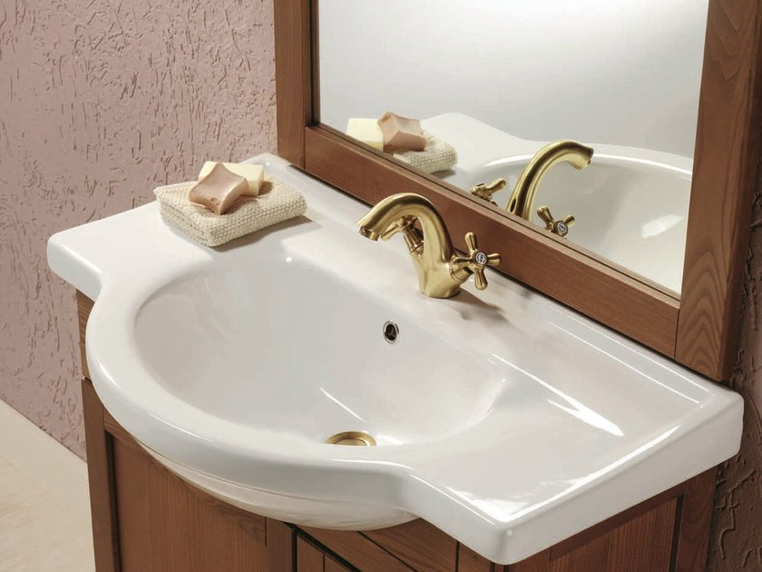 Vanity unit with doors with mirror NATURA 62 by Mobiltesino