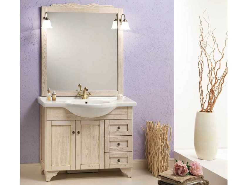 Vanity unit with doors with mirror NATURA 72 by Mobiltesino