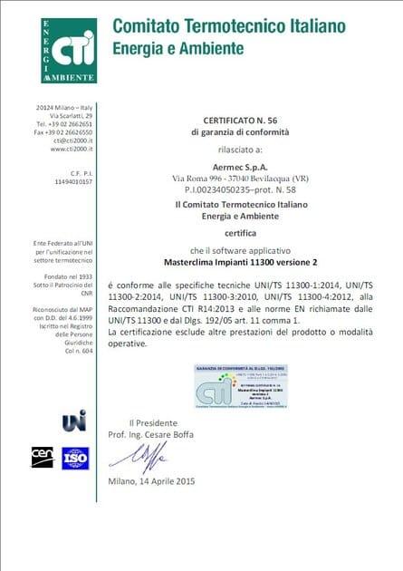 MASTERCLIMA CERTIFICATO N.56 di garanzia di conformità
