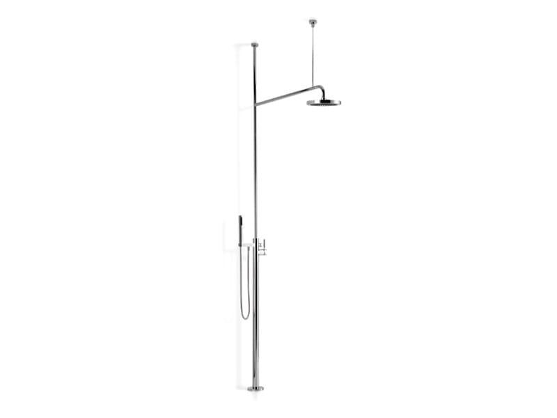 Shower panel with overhead shower with hand shower TARA.LOGIC | Shower panel by Dornbracht