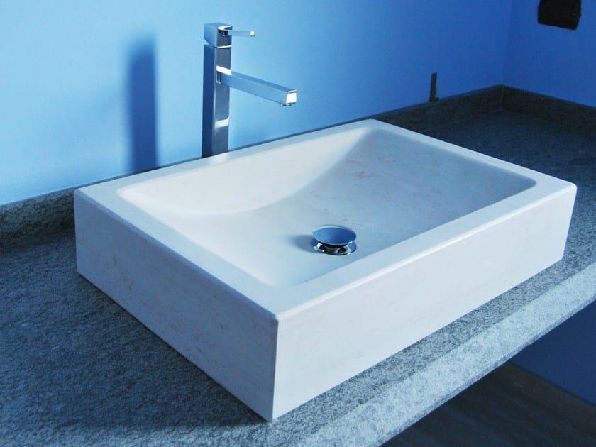 Countertop rectangular natural stone washbasin DELTA by RAMA 1956