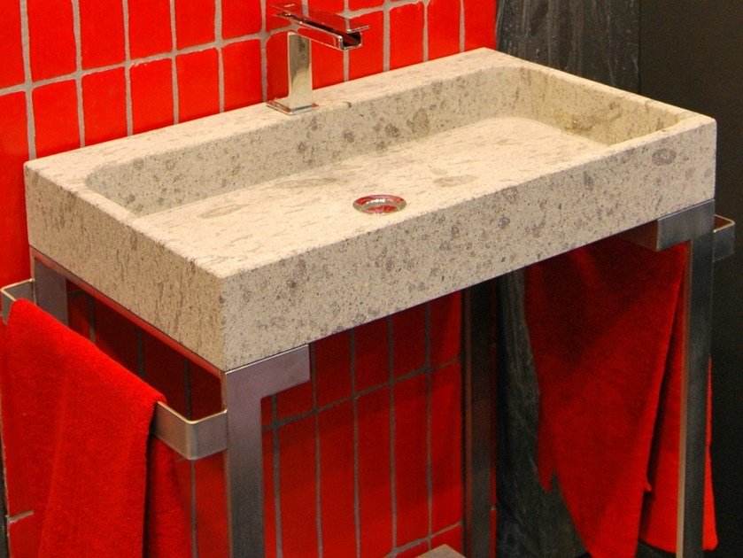 Countertop rectangular natural stone washbasin ZETA by RAMA 1956