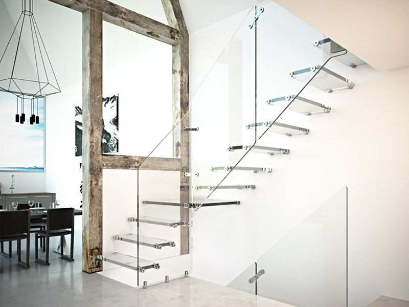 Z-shaped L-shaped U-shaped glass cantilevered staircase AIRA GLASS by RINTAL