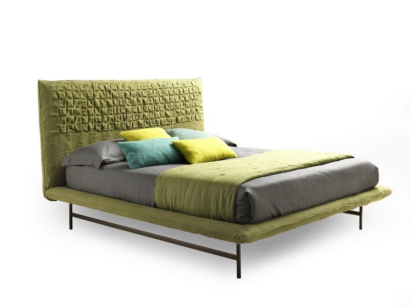 Fabric double bed with upholstered headboard SHEEN LIGHT by Bolzan Letti