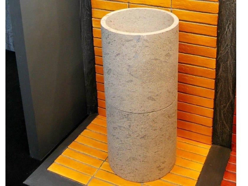 Freestanding round natural stone washbasin CILINDRO by RAMA 1956