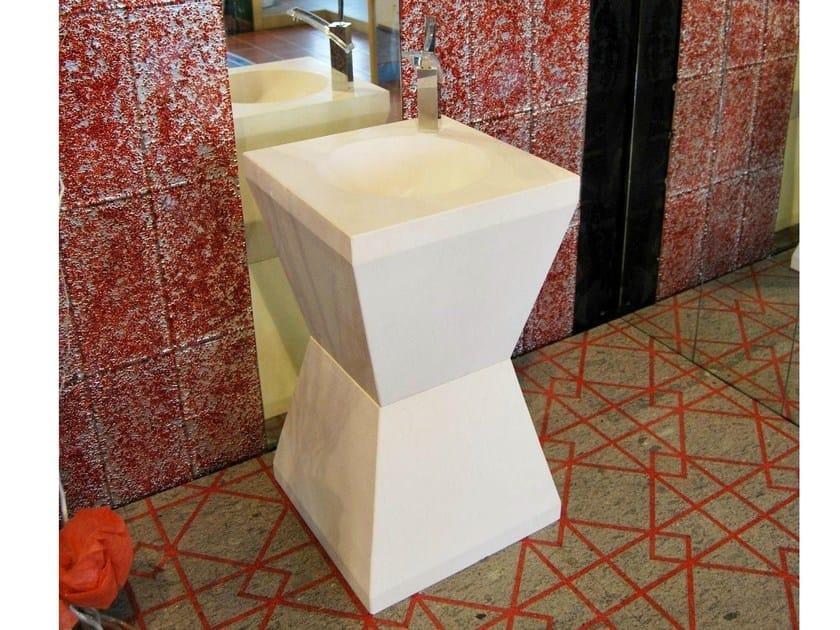 Freestanding natural stone washbasin CLESSIDRA by RAMA 1956