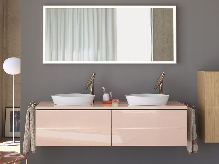 Double wall-mounted vanity unit with drawers L-CUBE | Double vanity unit by Duravit