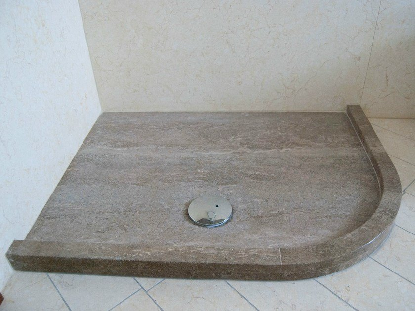 Corner natural stone shower tray AMETISTA by RAMA 1956