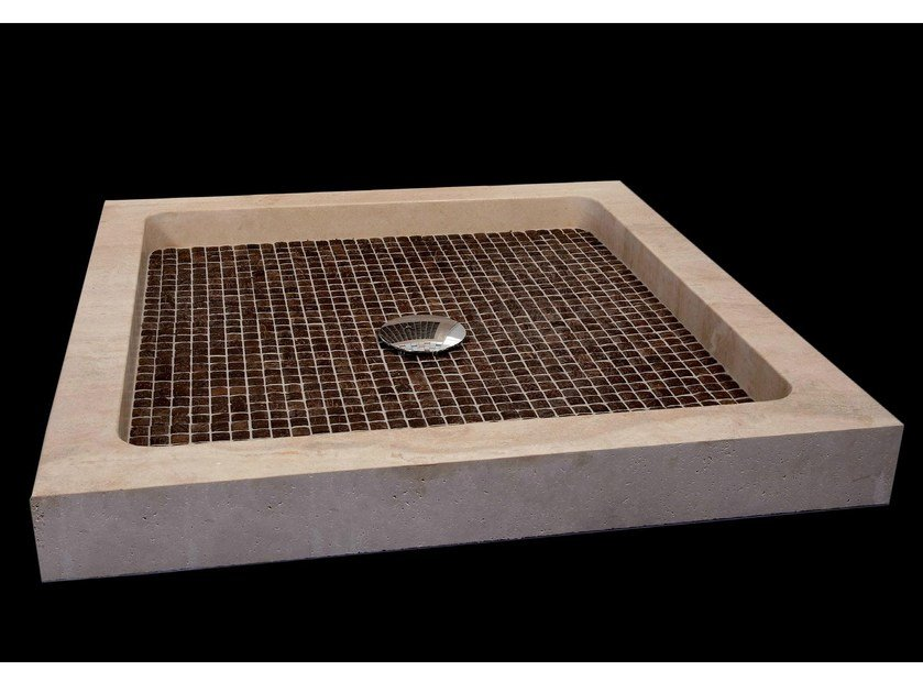 Square natural stone and coconut shower tray BORA BORA | Shower tray by RAMA 1956