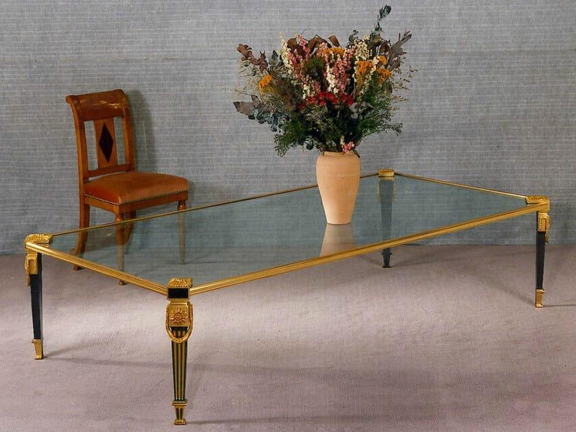Low rectangular bronze coffee table 44768   Rectangular coffee table by Tisserant