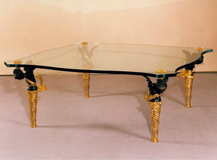 Low glass coffee table 44567 | Glass coffee table by Tisserant