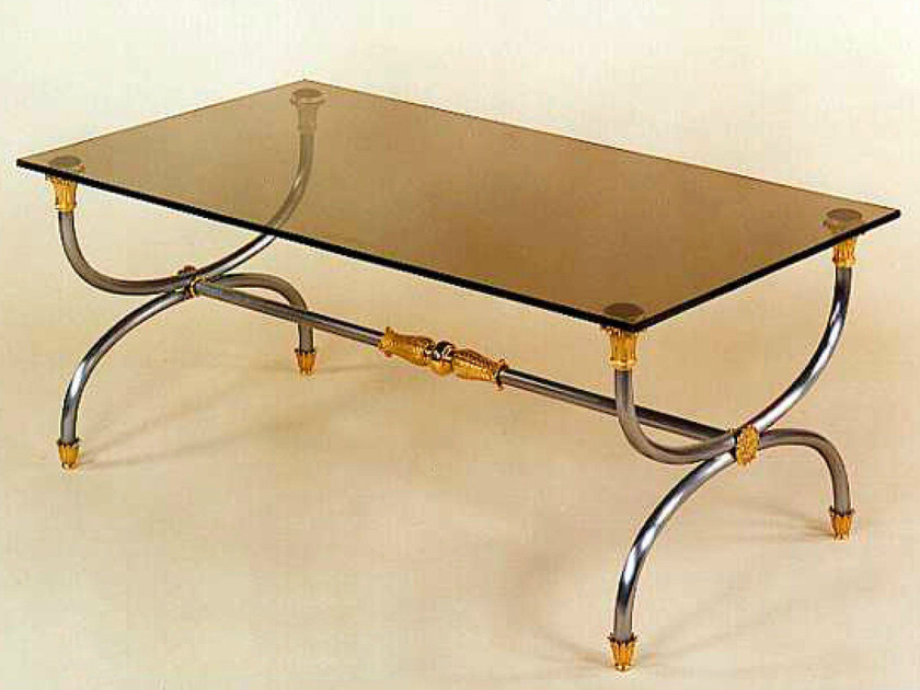 Classic style low bronze coffee table 44528 | Coffee table by Tisserant