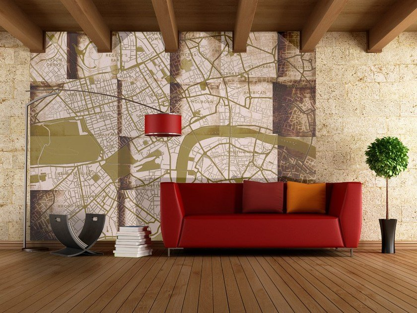 Contemporary style motif adhesive fabric wallpaper LONDON UNDERGROUND by MyCollection.it