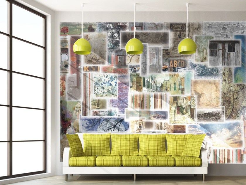 Contemporary style motif adhesive fabric wallpaper WINDOWS by MyCollection.it