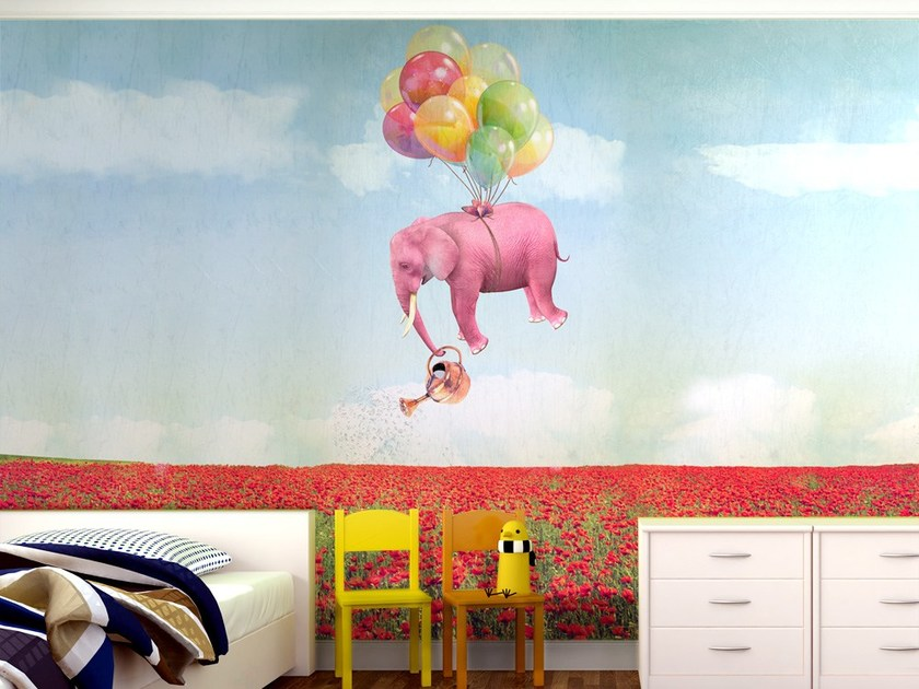 Contemporary style motif adhesive fabric wallpaper DUMBOOO by MyCollection.it