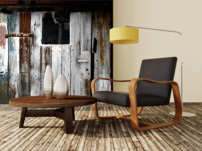 Contemporary style motif adhesive fabric wallpaper WOODEN GARAGE by MyCollection.it